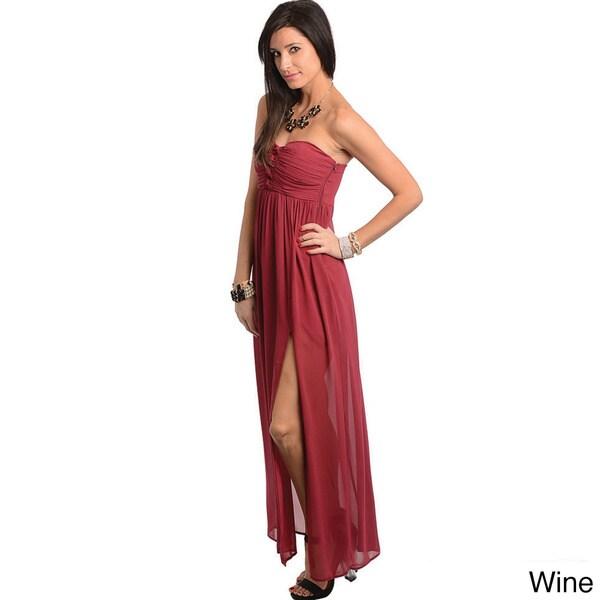 Feellib Women's Strapless Front Slit Maxi Dress