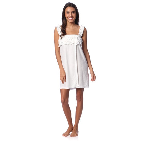 Aegean Apparel Women's White French Knit Ruffled Shower Wrap