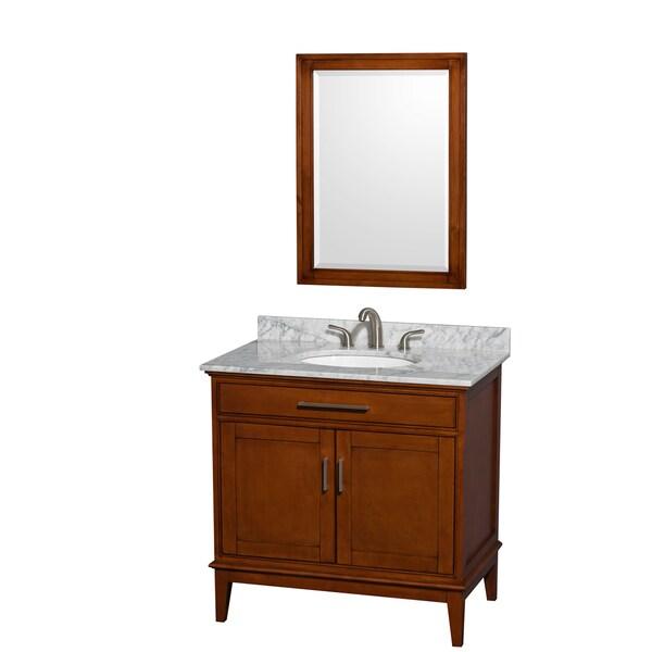 Shop Wyndham Collection 39 Hatton 39 36 Inch Light Chestnut Bathroom Vanity Free Shipping Today