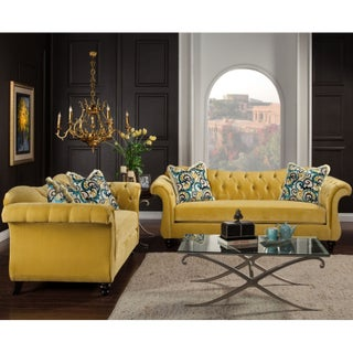 Furniture of America Agatha 2-piece Tufted Velvet and Hardwood Sofa and Loveseat Set (Option: Royal Yellow)