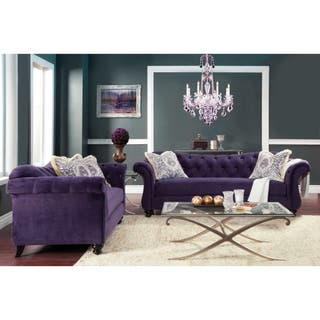 Furniture Of America Agatha 2 Piece Tufted Velvet And Hardwood Sofa Loveseat Set