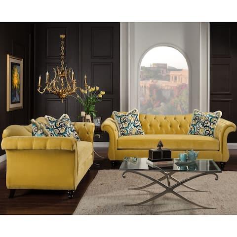 Furniture of America Agatha 2-piece Tufted Velvet and Hardwood Sofa and Loveseat Set