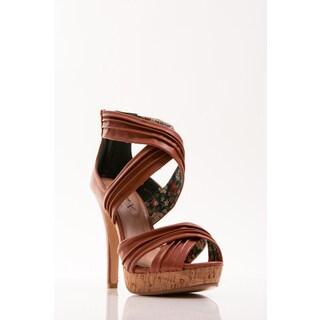 Gomax Women's 'Lacy-38' Cognac Criss-cross Ankle Strap Sandal Pumps