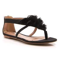 Gomax Women's 'Ares 29' Fabric Flower Flat Sandals