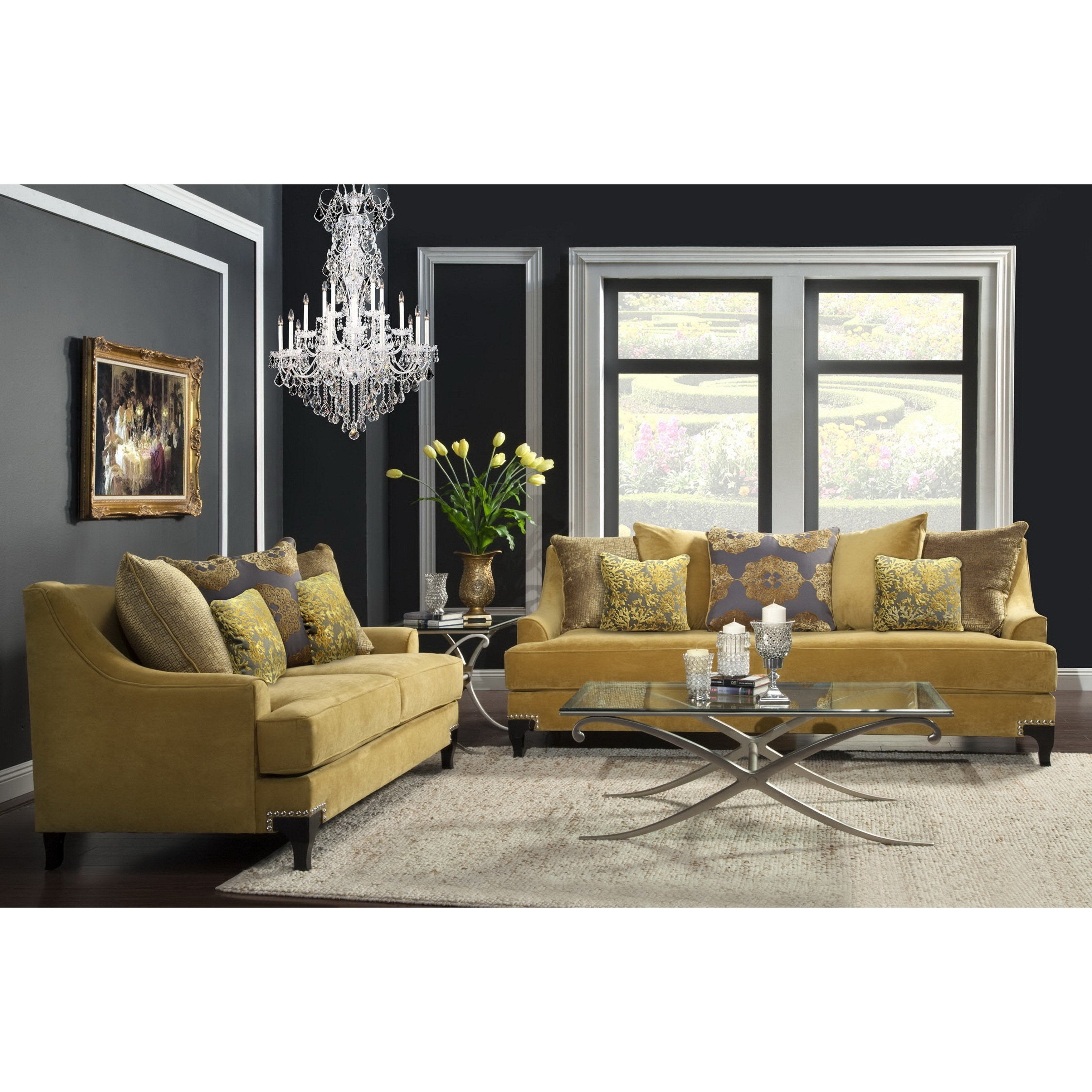 Stupendous Visconti Modern 2 Piece Velvet Sofa And Loveseat Set By Foa Bralicious Painted Fabric Chair Ideas Braliciousco