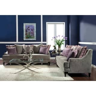 Furniture Of America Visconti 2 Piece Premium Velvet Sofa And Loveseat Set
