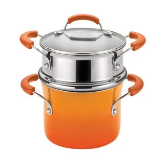 Rachael Ray Hard Enamel Nonstick 3-quart Orange Gradient Covered Steamer Set