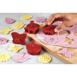 Cake Boss Decorating Tools Red 4-piece Springtime Fondant Press Set