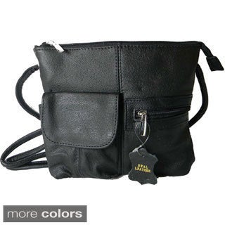 Hollywood Tag Small Cowhide Leather Top-zip Messenger Bag