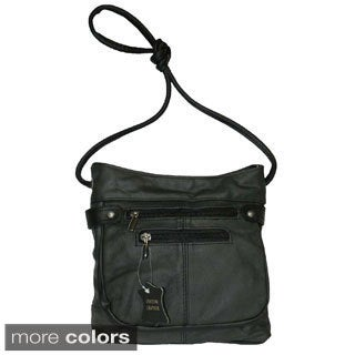 Hollywood Tag Black Leather Messenger Bag