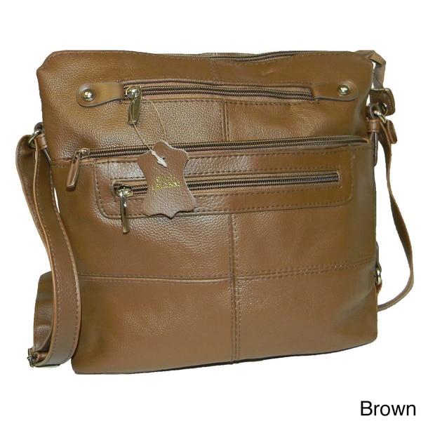 Hollywood Tag Large Cowhide Leather Messenger Bag