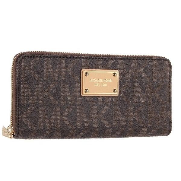 b8f59f05c7df Shop MICHAEL Michael Kors Logo Zip Continental Brown Wallet - Free ...