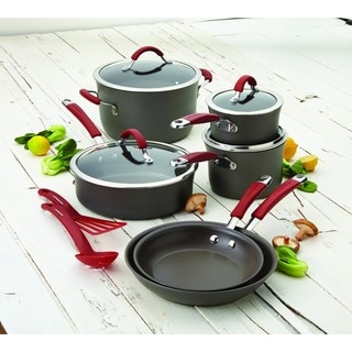 Rachael Ray Cucina Red/Grey Hard-anodized Nonstick 12-piece Cookware Set with $30 Mail-in rebate