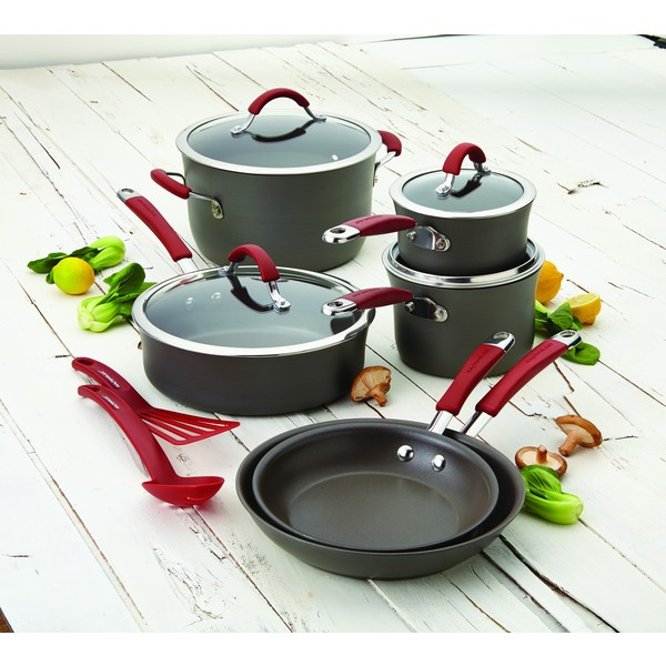 Rachael Ray Cucina Red/Grey Hard-anodized Nonstick 12-piece Cookware Set
