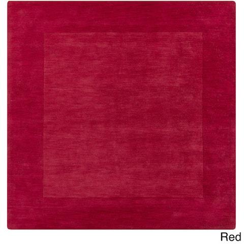 Hand Loomed Odessa Solid Bordered Tone-On-Tone Wool Area Rug