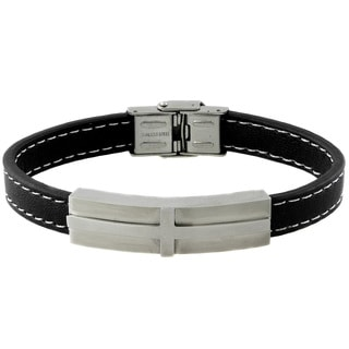 Gravity Stainless Steel and Faux Leather Men's ID Bracelet