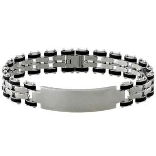 Gravity Stainless Steel Men's Rubber ID Bracelet