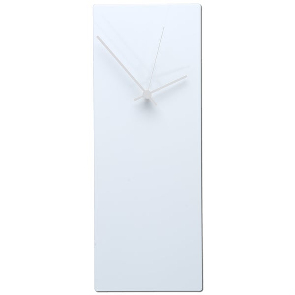 Wonderful Modern White Clock Part - 13: Whiteout Minimalist Modern White With Accent Colored Hands Wall Clock -  Free Shipping Today - Overstock.com - 16100724