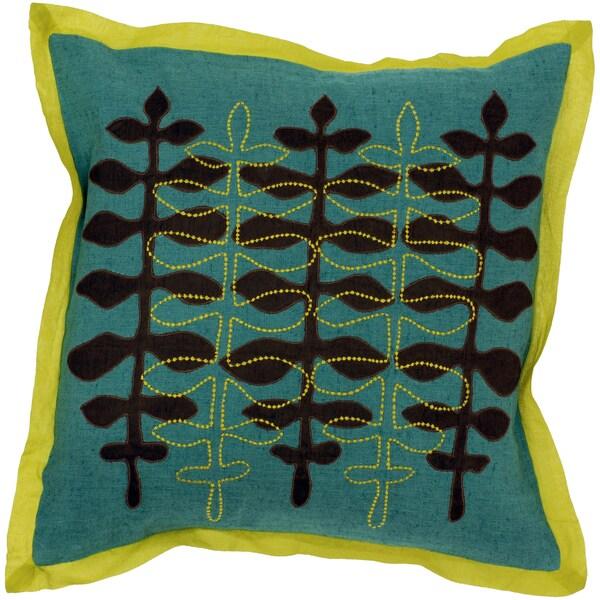 Teal Modern Floral Pattern Throw Pillow