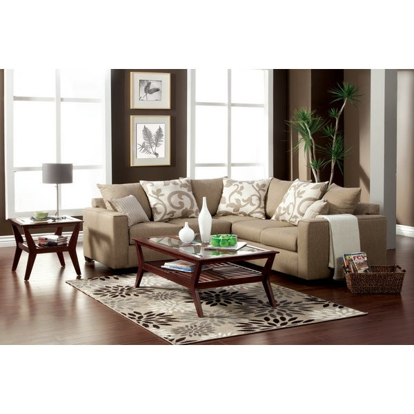 Furniture of America Cole Transitional Beige Fabric 2-piece Sectional