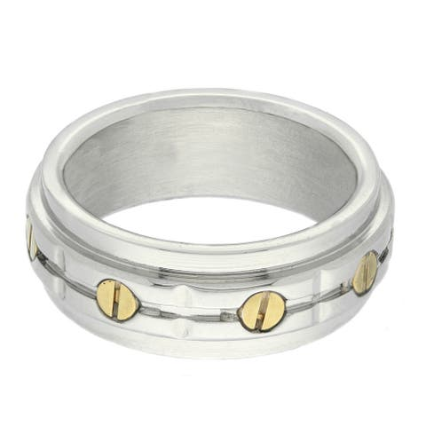 Gemeni Two-tone Stainless Steel Men's Bolt Ring