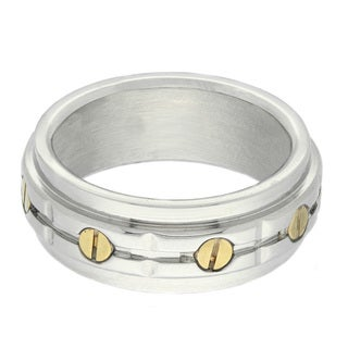 Gemeni Two Tone Stainless Steel Men S Bolt Ring