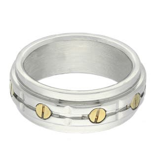 Gravity Two-tone Stainless Steel Men's Bolt Ring https://ak1.ostkcdn.com/images/products/8876407/Gravity-Two-tone-Stainless-Steel-Mens-Bolt-Ring-P16100734.jpg?impolicy=medium