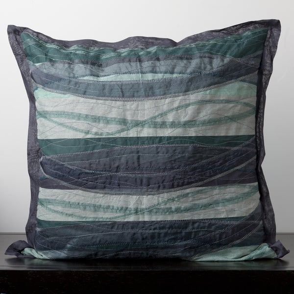 Wavy Blue Cotton Decorative Pillow