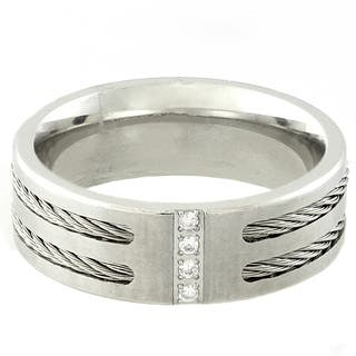Gravity Stainless Steel Men's Cubic Zirconia Cable Ring https://ak1.ostkcdn.com/images/products/8876415/Gravity-Stainless-Steel-Mens-Cubic-Zirconia-Cable-Ring-P16100731.jpg?impolicy=medium