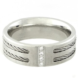Gravity Stainless Steel Men's Cubic Zirconia Cable Ring