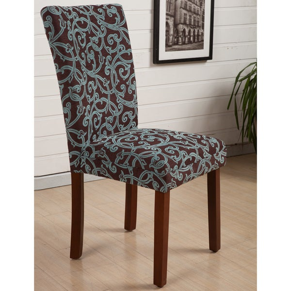 Floral Dining Room Chairs: Shop HLW Arbonni Modern Parson Green Floral Dining Chairs