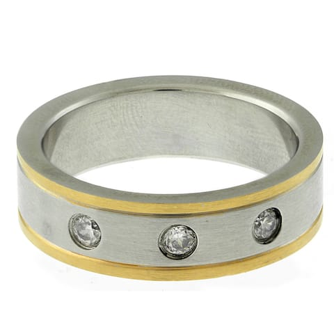 Gemeni Stainless Steel Two-tone Men's Cubic Zirconia Ring