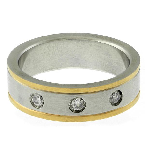 Gemeni Stainless Steel Two-tone Men's Cubic Zirconia Ring