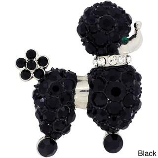 Base Metal Crystal Black Poodle Dog Pin
