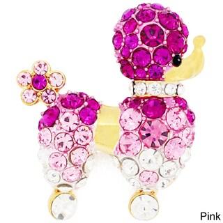 Base Metal Crystal Black Poodle Dog Pin (Option: Pink)