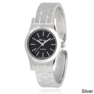 Geneva Platinum Women's Stainless Steel Cuff Watch (3 options available)