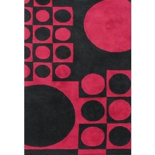 Handmade Circles Black/ Red Wool Rug (5' x 8')