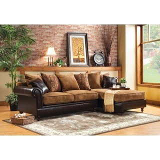 Furniture of America Gasparzi 2-piece Fabric/ Espresso Leatherette Chaise Sectional