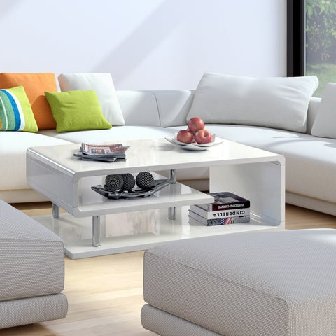 Oliver & James Sylvia Geometric High Gloss Coffee Table