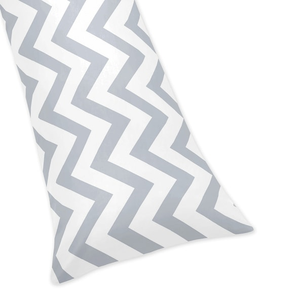 Grey/ White Chevron Zigzag Full Length Double Zippered Body Pillowcase