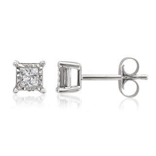 Montebello 10k White Gold 1/3ct TDW Princess-cut Illusion Set Diamond Earrings (G-H, I1-I2)