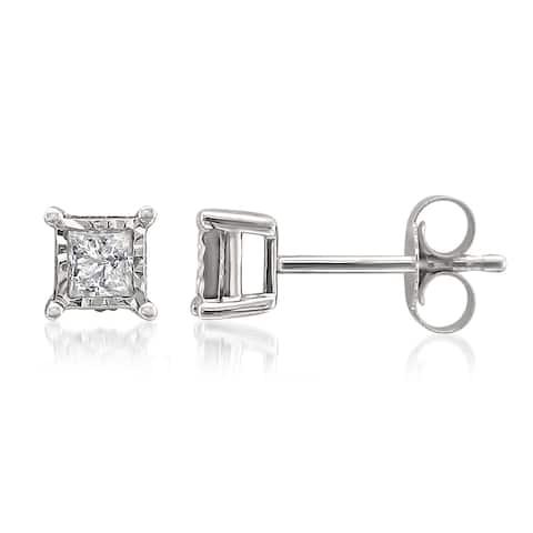 Montebello 10k White Gold 1/3ct TDW Princess-cut Illusion Set Diamond Earrings