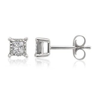 Montebello 10KT White Gold 1/3ct TDW Illusion Set Diamond Earrings