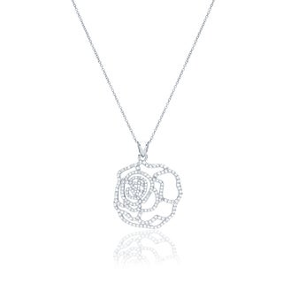 Blue Box Jewels Rhodium-plated Stainless Steel Rose Necklace