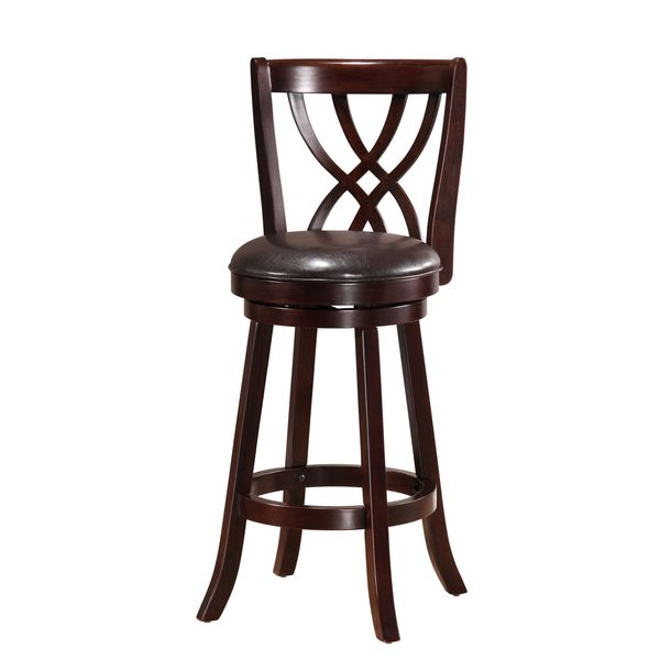 Solid Cappuccino Swivel-back Barstool