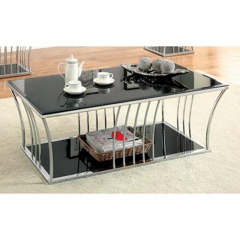 Furniture of America Hice Modern Black Glass Storage Coffee Table