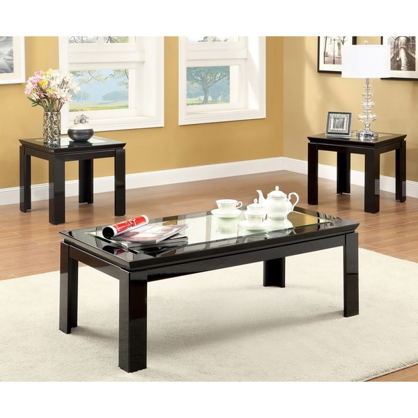 Furniture of america morinthe 3 piece high gloss black for 3 piece coffee table set black
