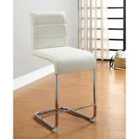"""Furniture of America Alta Leatherette Pub Dining Chairs (Set of 2) - 17""""W X 22 1/4""""D X 38""""H (Seat Ht: 20 1/4"""", Seat Dp:"""