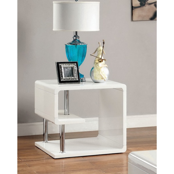Overstock End Tables: Furniture Of America Inomata Geometric High Gloss End