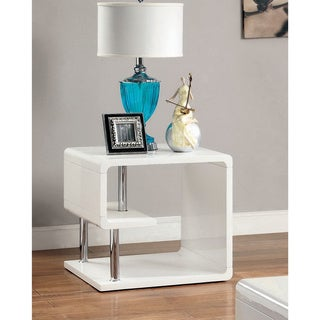 Furniture of America Inomata Geometric High Gloss End Table